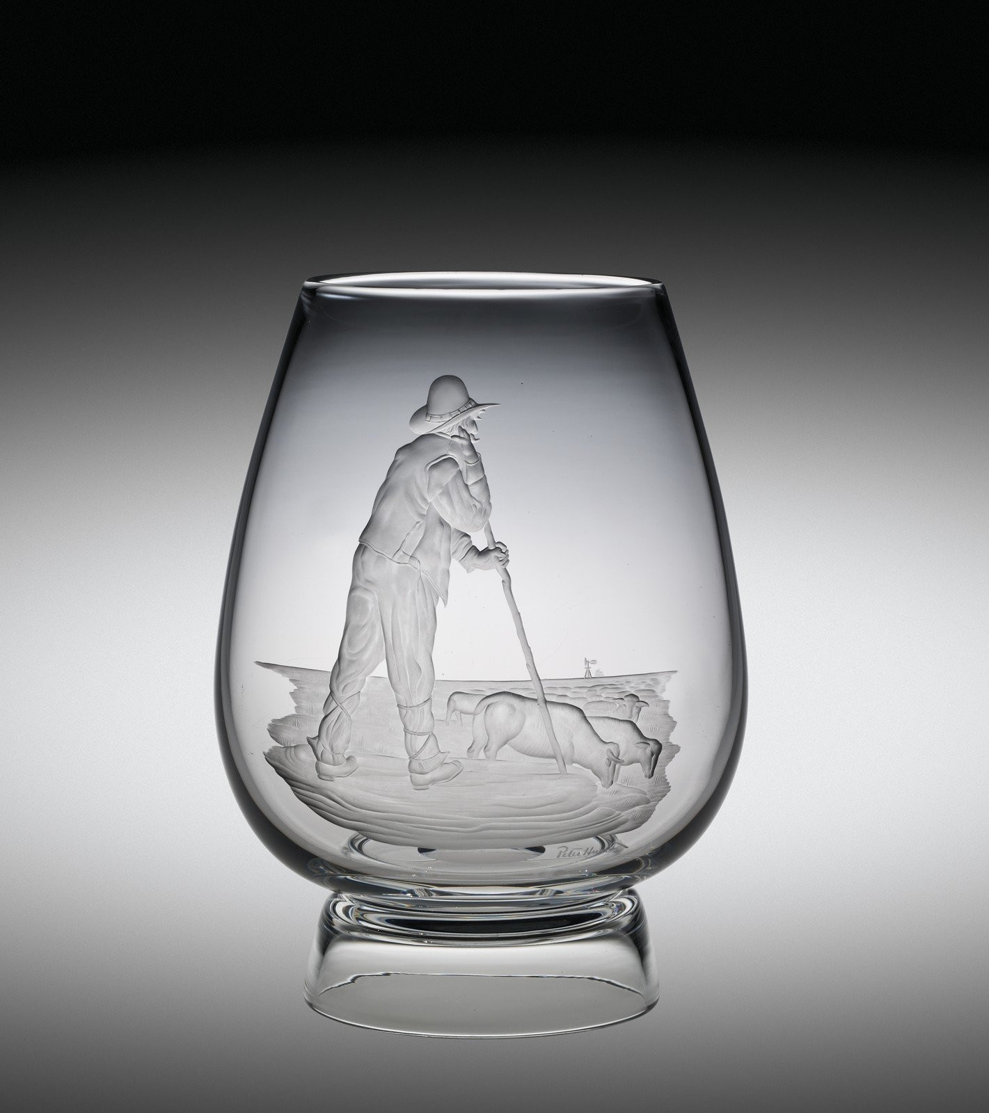 engraved glass vases cheap of collection search corning museum of glass intended for vase with rancher tending cattle