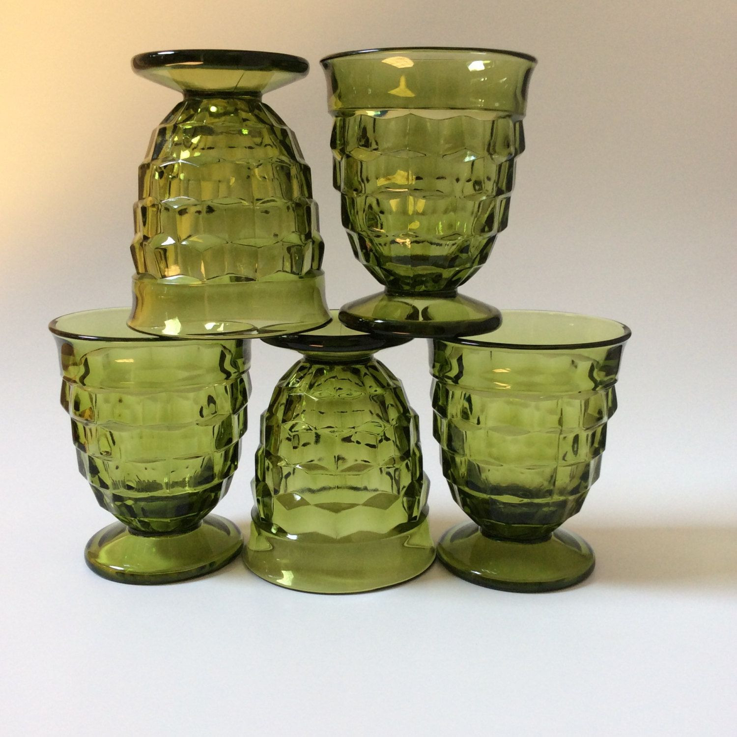 eo brody green vase of vintage olive green indiana glass whitehall tumblers set of five by with regard to vintage olive green indiana glass whitehall tumblers set of five by eastwestvintage1 on etsy