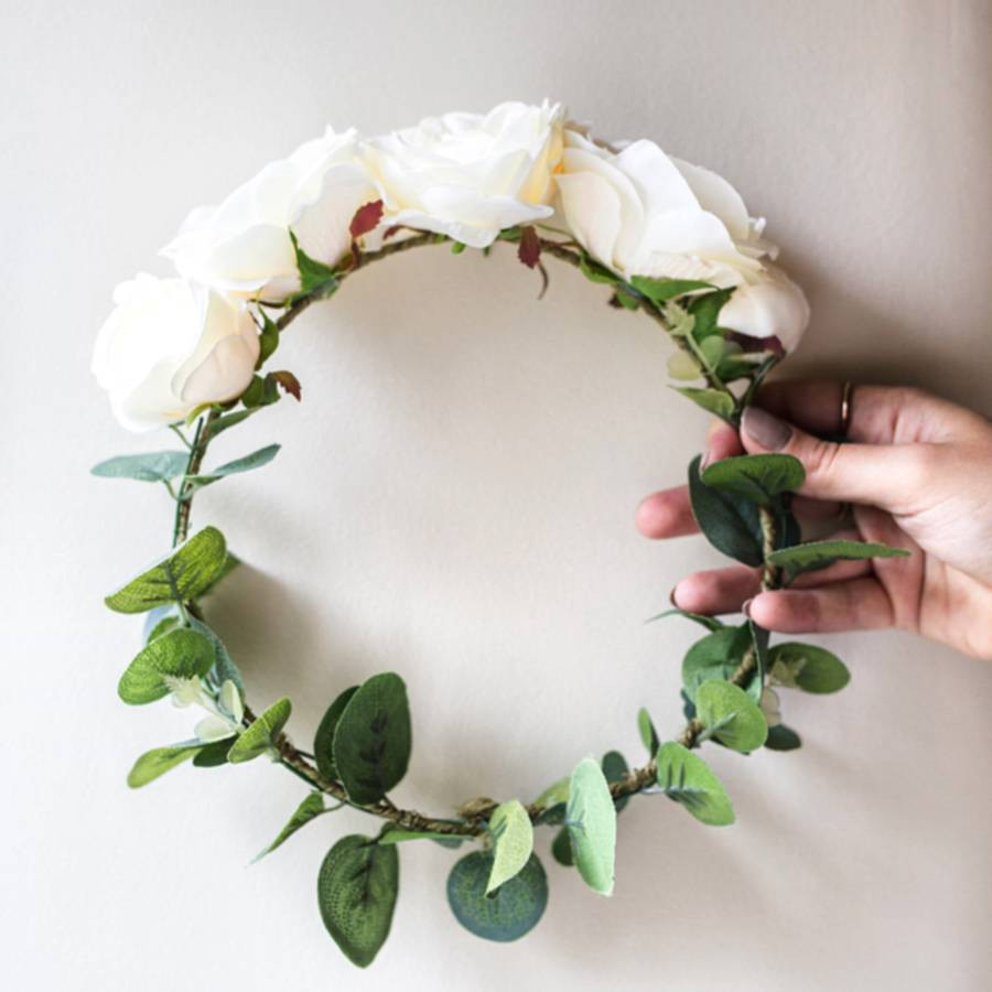 eucalyptus plant in vase of rose and eucalyptus bridal crown by deluxe blooms with rose and eucalyptus bridal crown