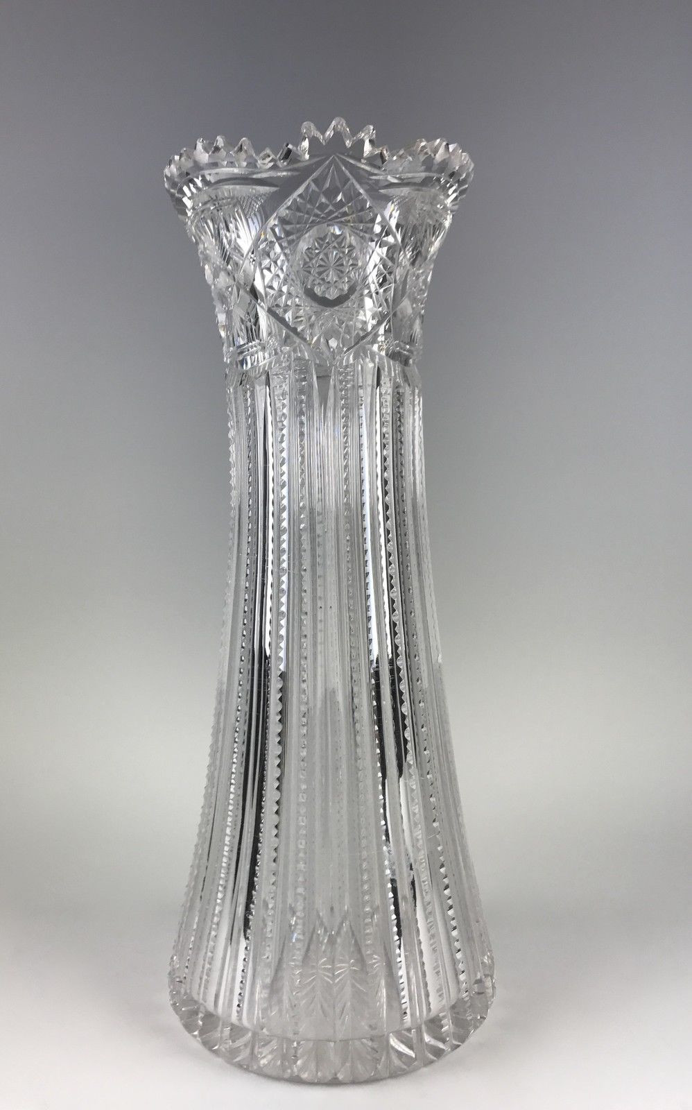 extra large clear vase of large 12 3 8 american brilliant period abp corset vase d˜ddµd¸ ddn for large 12 3 8 american brilliant period abp corset vase glass dishes