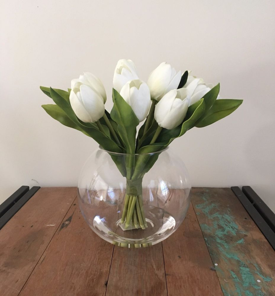 fake flowers in glass vase of new artificial fake real touch tulips white w artificial water clear inside new artificial fake real touch tulips white w artificial water clear glass vase