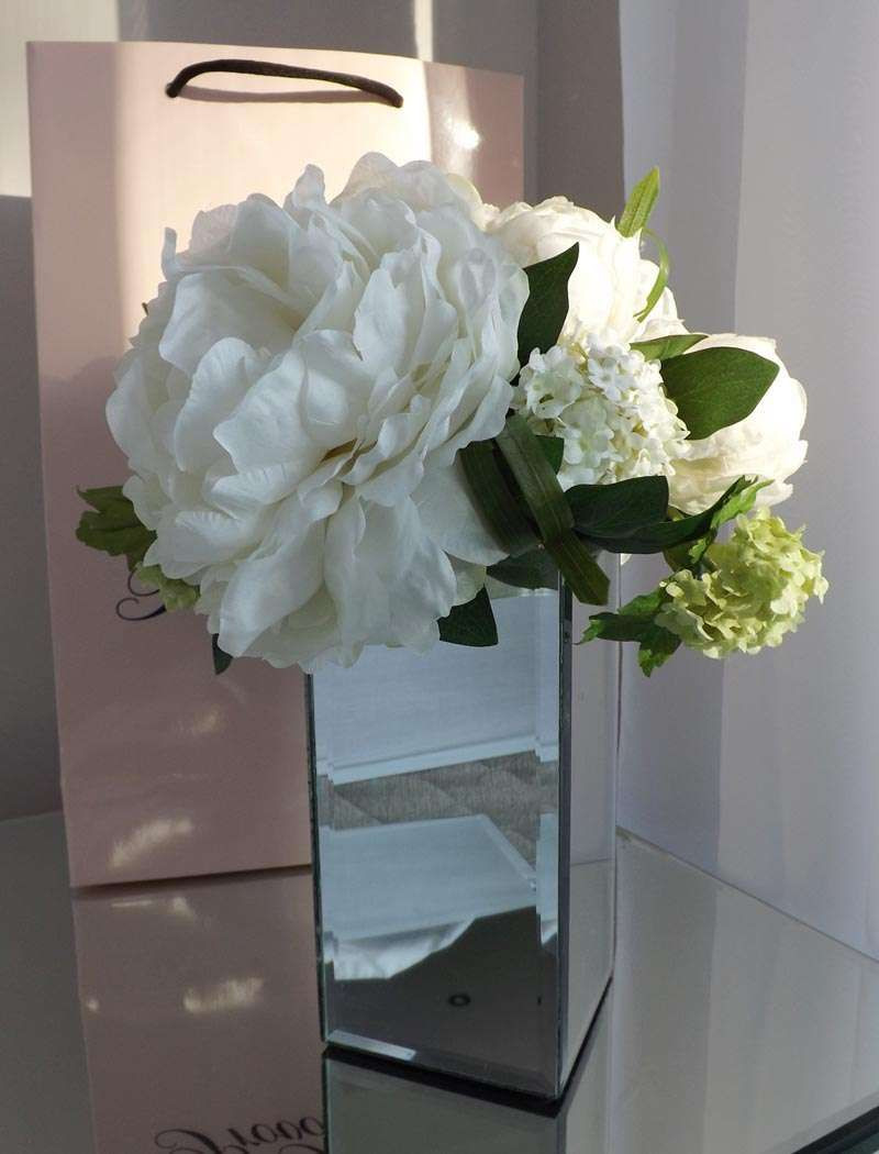 fake flowers in water vase of peony and gelder rose in mirrored vase white rtfact artificial regarding peony and gelder rose in mirrored vase white rtfact artificial silk flowers