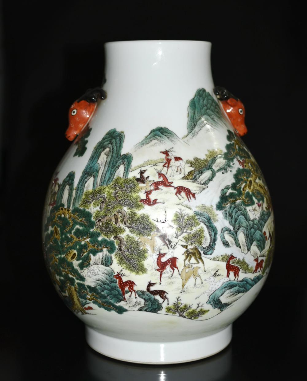famille rose porcelain vase of a large famille rose hundred deer porcelain vase in h21380 l148579951 jpg