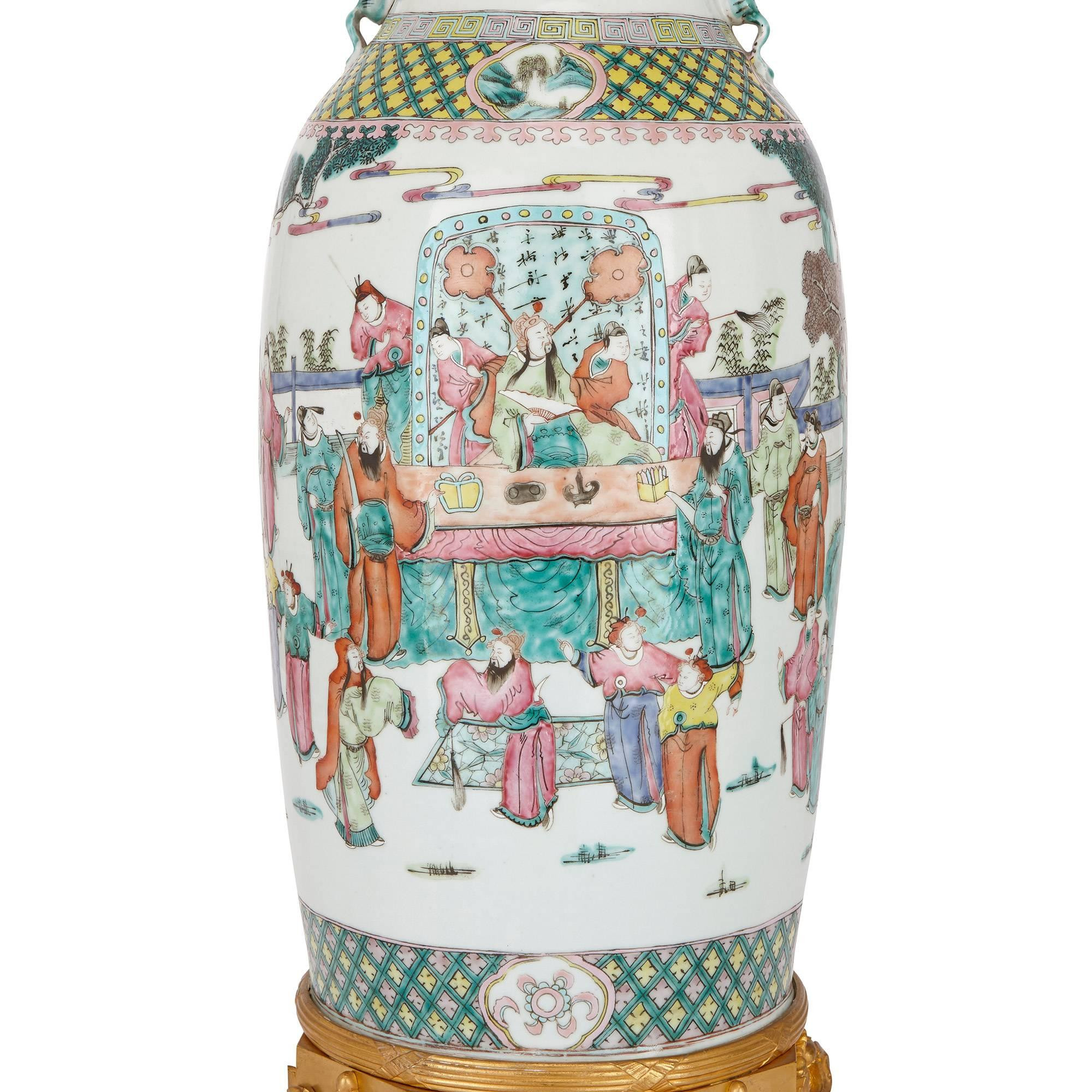 famille rose porcelain vase of pair of chinese antique canton famille rose porcelain vases for sale inside pair of chinese antique canton famille rose porcelain vases for sale at 1stdibs