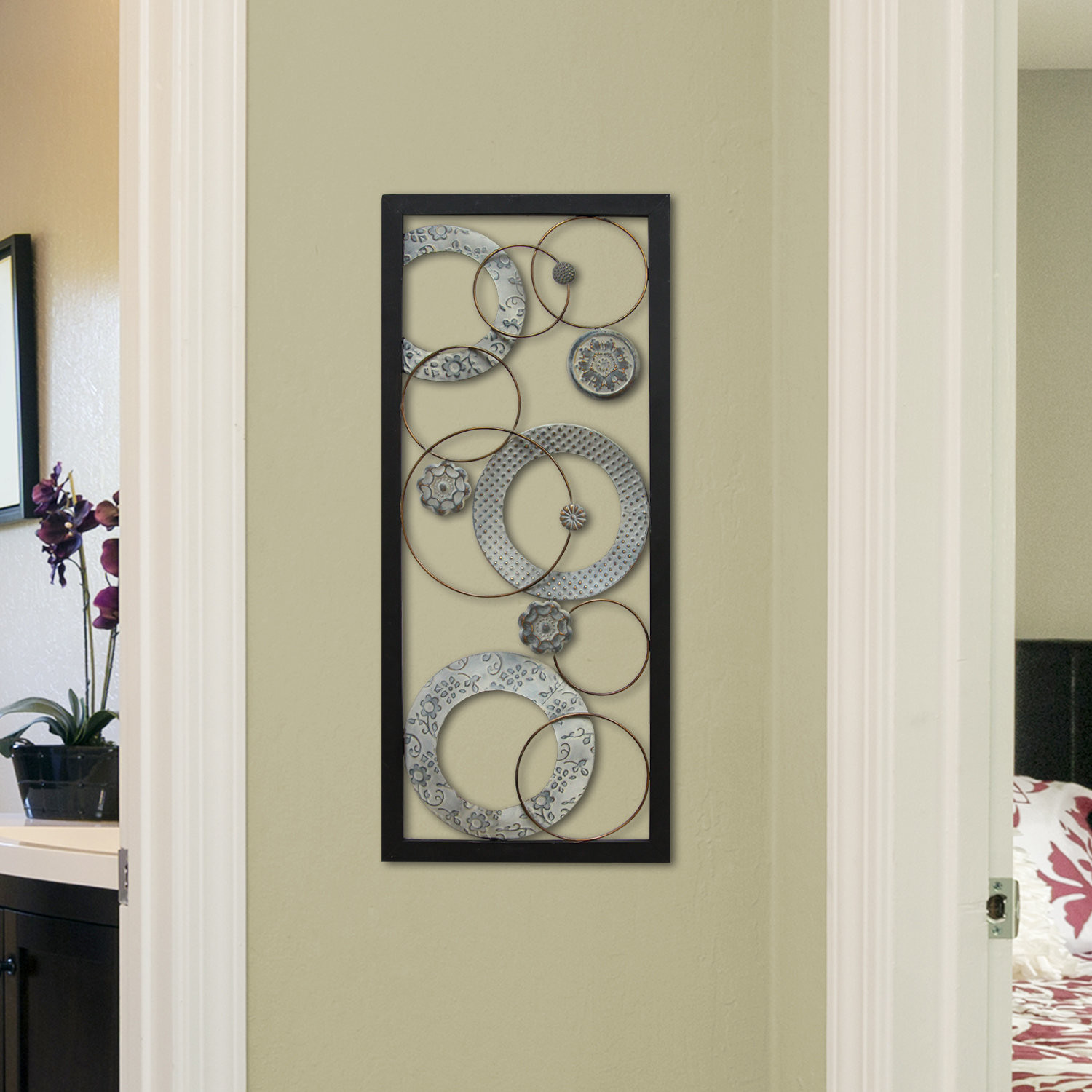 Farmhouse Metal Wall Vase Of Stratton Home Decor Stamped Circles Panel Wall Dacor Wayfair Intended for Stamped Circles Panel Wall Decor