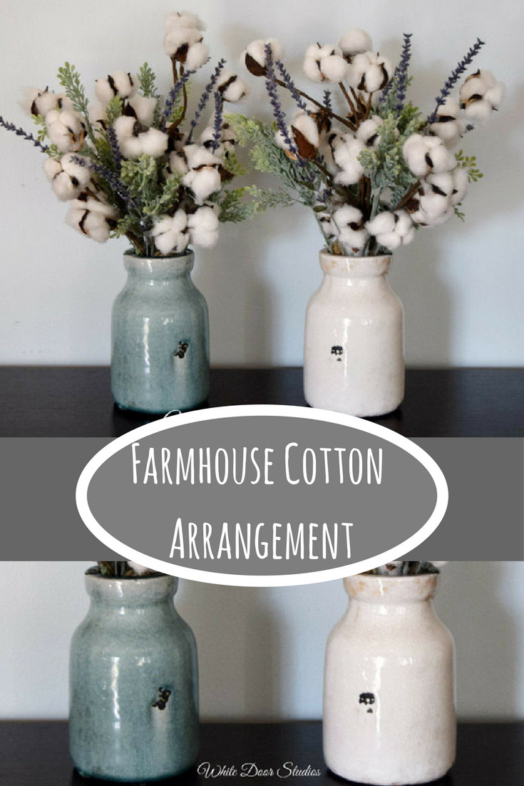 Farmhouse Metal Wall Vase Of Super Cute Rustic Ceramic Vases In Your Choice Of Distressed Cream Intended for Super Cute Rustic Ceramic Vases In Your Choice Of Distressed Cream or Pale Blue Filled with Charming Cotton Boll Stems Greenery and Beautiful Faux