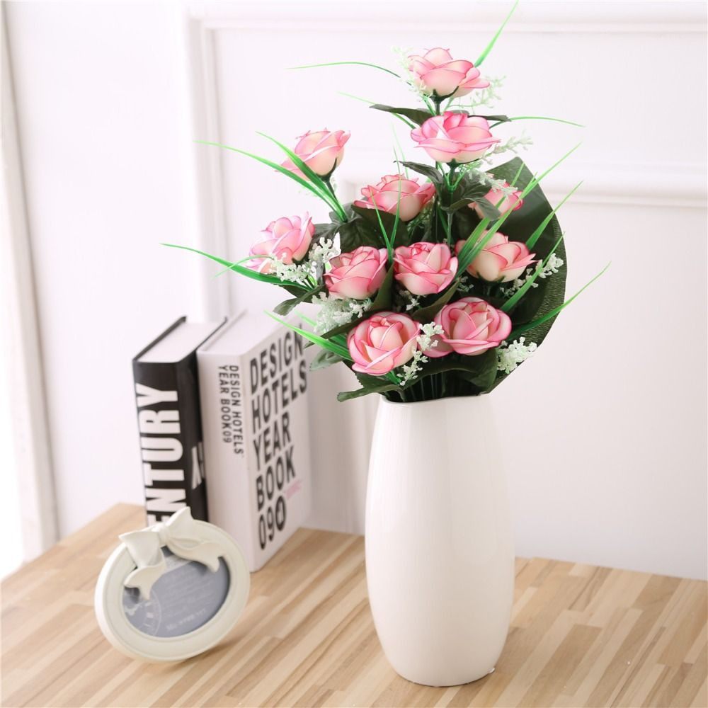 faux flower arrangements in vase of 12 heads artificial tea rose bridal flower bouquet for wedding intended for 12 heads artificial tea rose bridal flower bouquet for wedding decoration silk flower arrangement for wedding