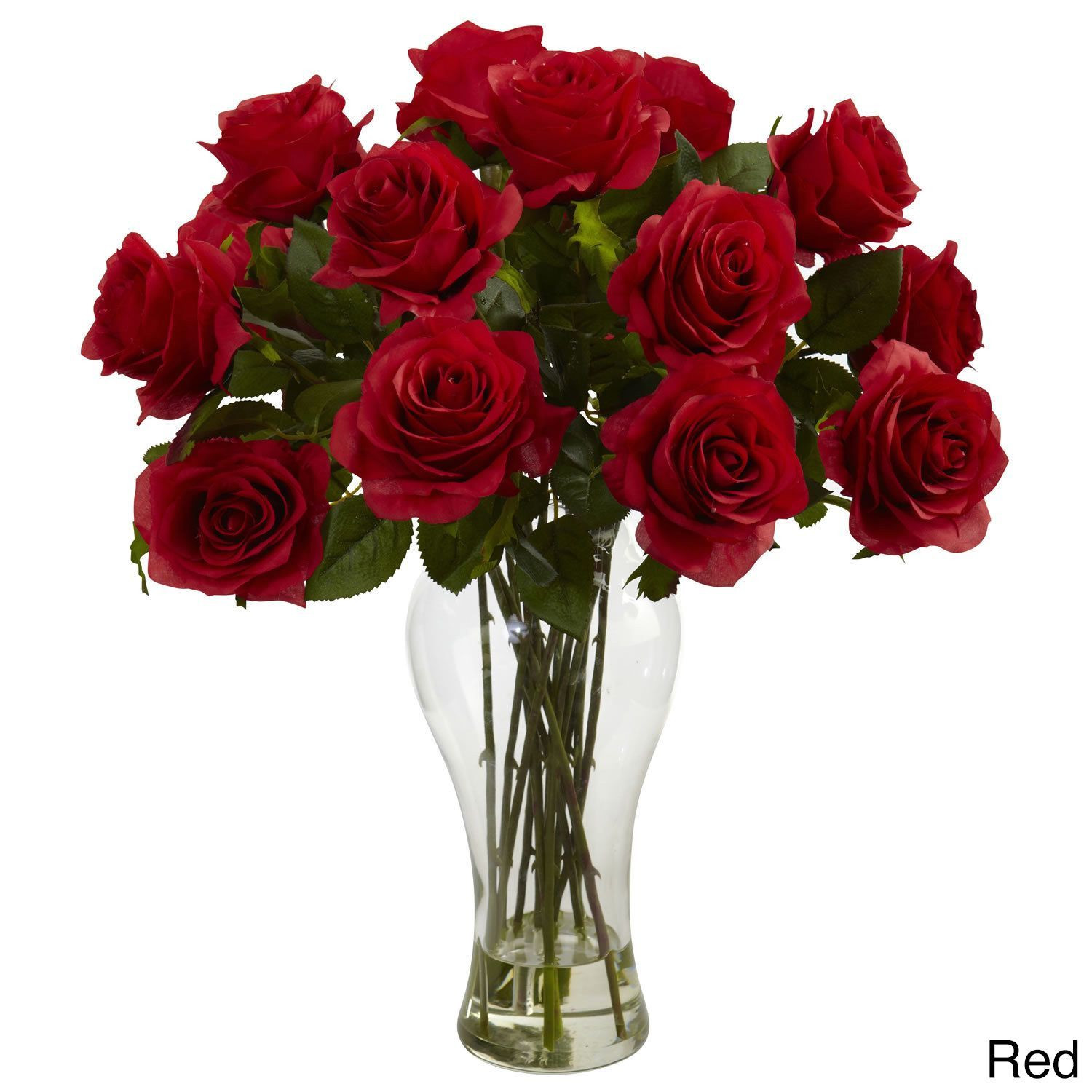 faux flower arrangements in vase of nearly natural blooming roses vase blooming roses w vase red in nearly natural blooming roses vase blooming roses w vase red plastic