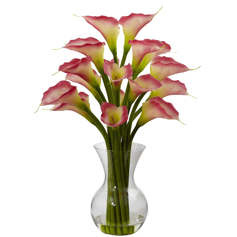 Faux Hydrangea Arrangement In Clear Glass Vase Of Amazon Com Nearly Natural 1299 Cr Galla Calla Lily with Vase In Amazon Com Nearly Natural 1299 Cr Galla Calla Lily with Vase Arrangement Cream Home Kitchen