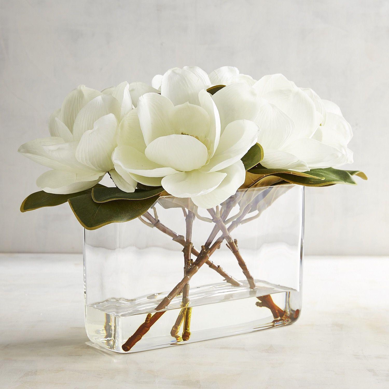faux hydrangea arrangement in clear glass vase of faux magnolia arrangement white pinterest magnolia and products for faux magnolia arrangement white
