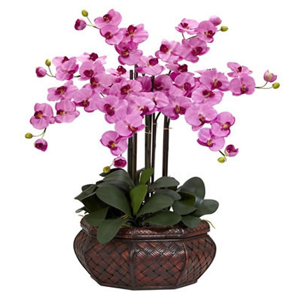 faux orchid in vase of large mauve phalaenopsis silk flower arrangement products throughout large mauve phalaenopsis silk flower arrangement