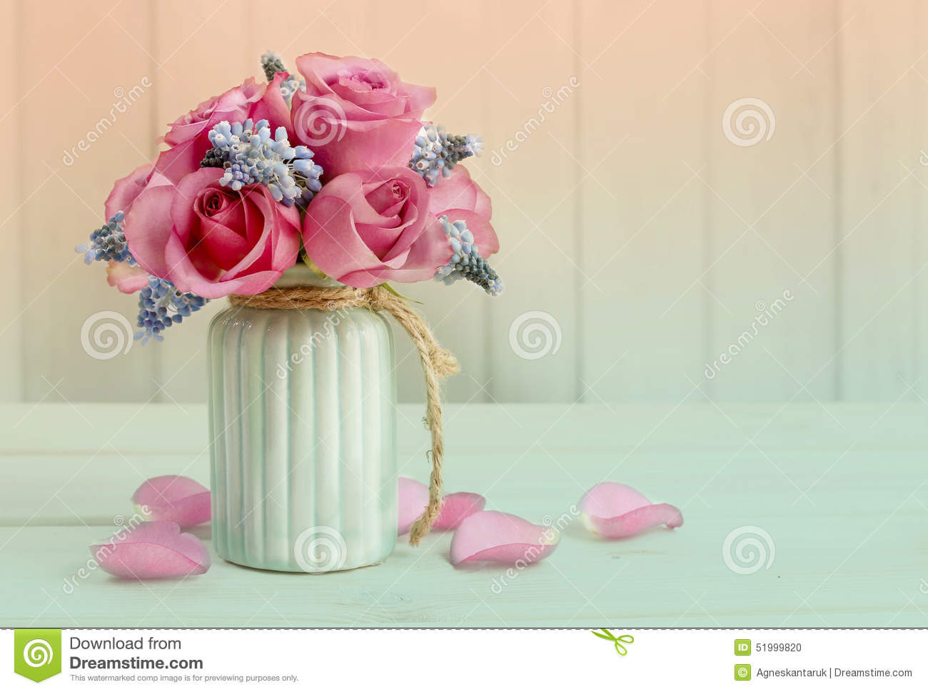 faux pink flowers in vase of bouquet of pink roses and blue muscari flower grape hyacinth stock with bouquet of pink roses and blue muscari flower grape hyacinth