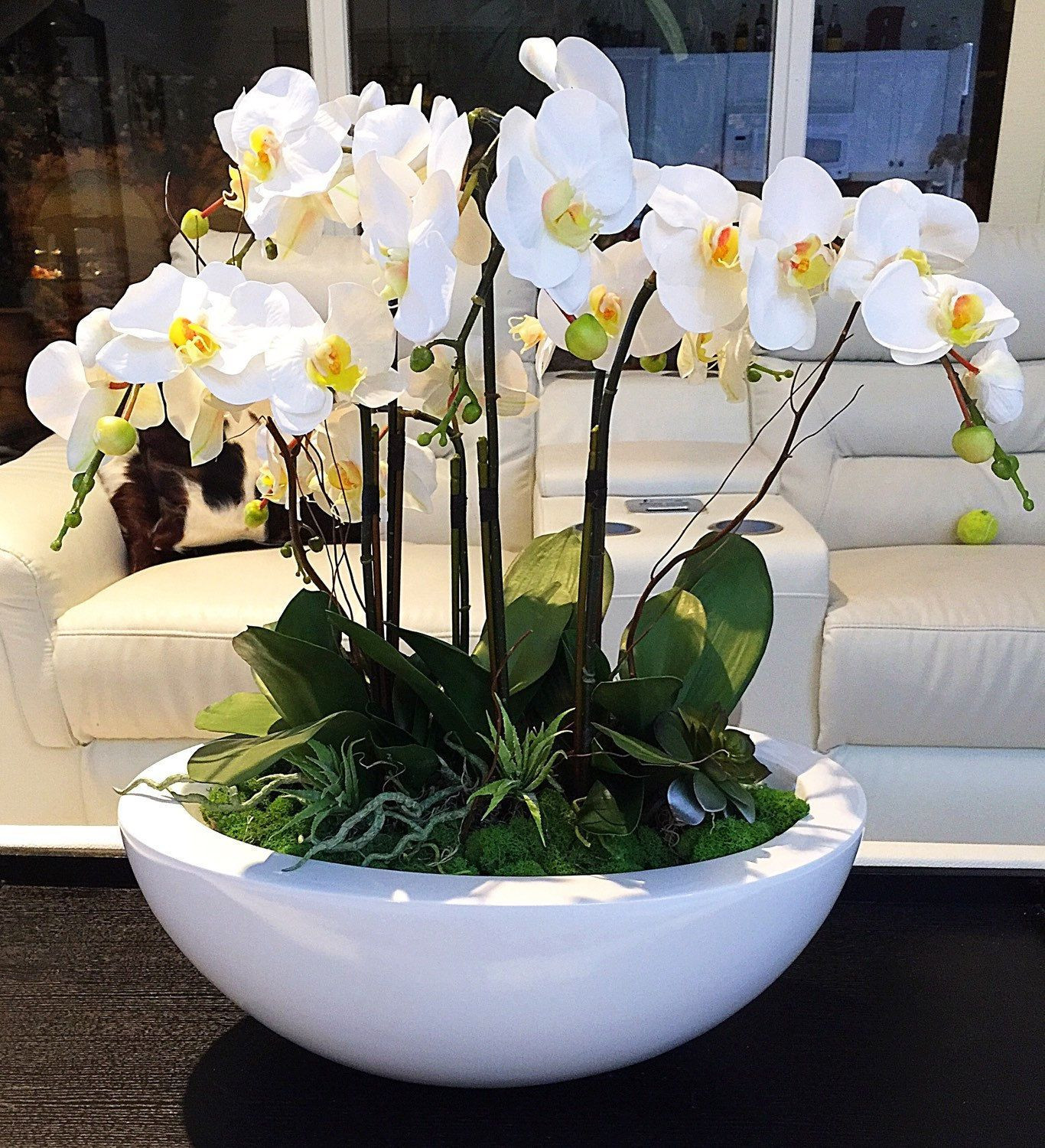faux white hydrangea arrangement in glass vase of orchid in glass vase unique custom order for jeremy white orchid with regard to orchid in glass vase unique custom order for jeremy white orchid arrangement realistic