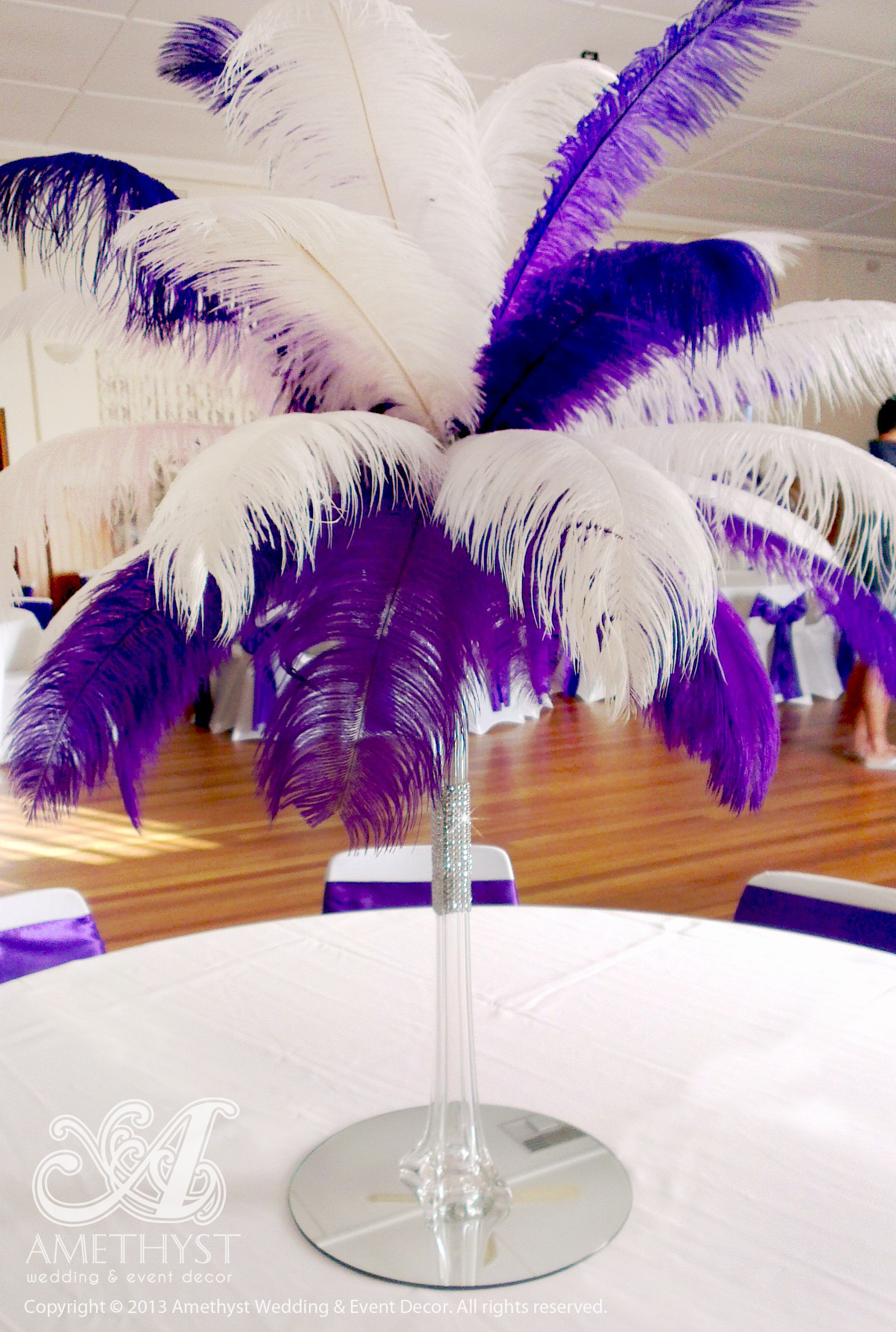 feather vase centerpieces of centerpiece package 60cm clear eiffel vase with purple white throughout centerpiece package 60cm clear eiffel vase with purple white ostrich feathers diamante mesh 30cm mirror base