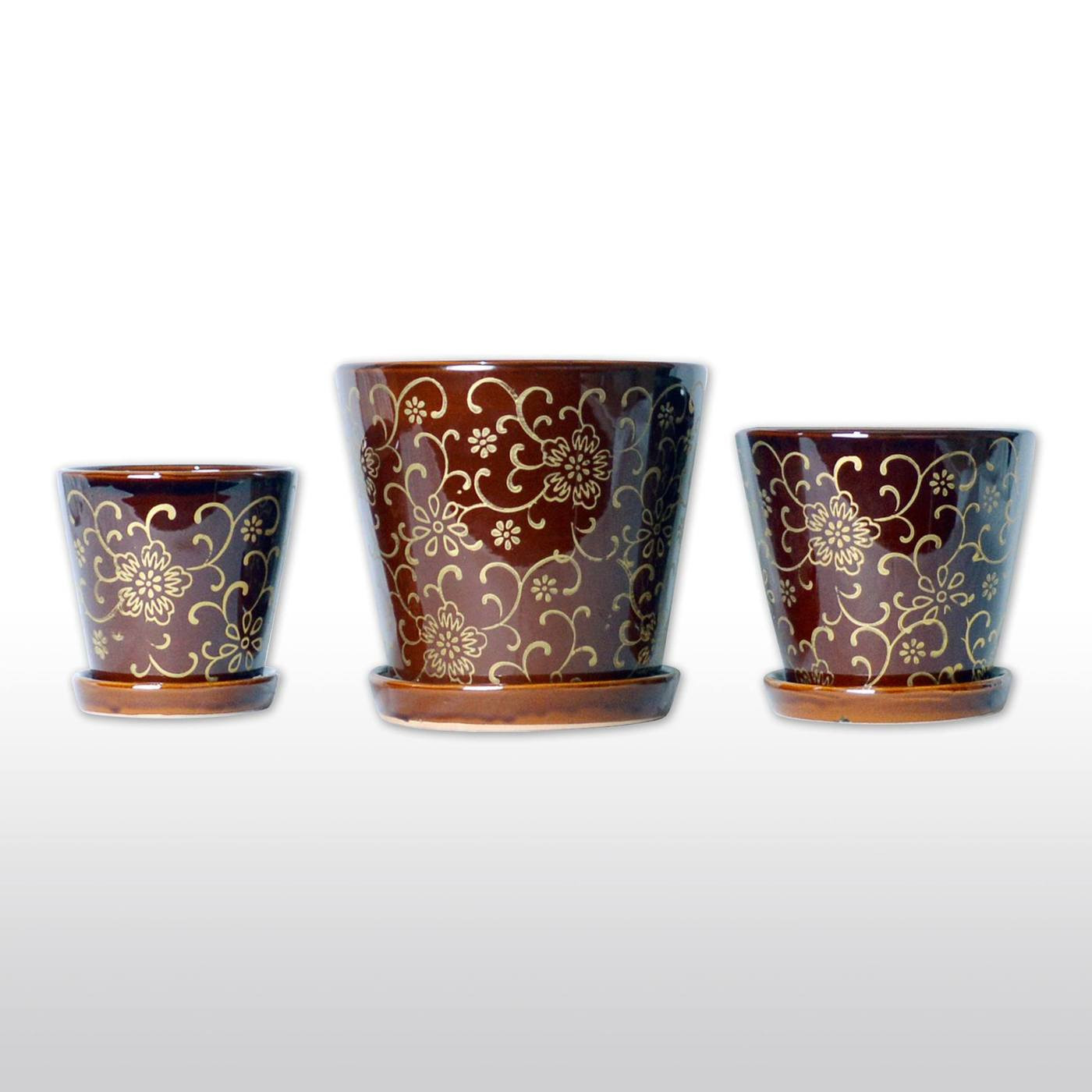 feng shui wealth vase kit of a trio of ceramic planters with trays floral motif three pots within ceramic planters ceramic flower pots with bottom trays with golden designs in burgundy set of