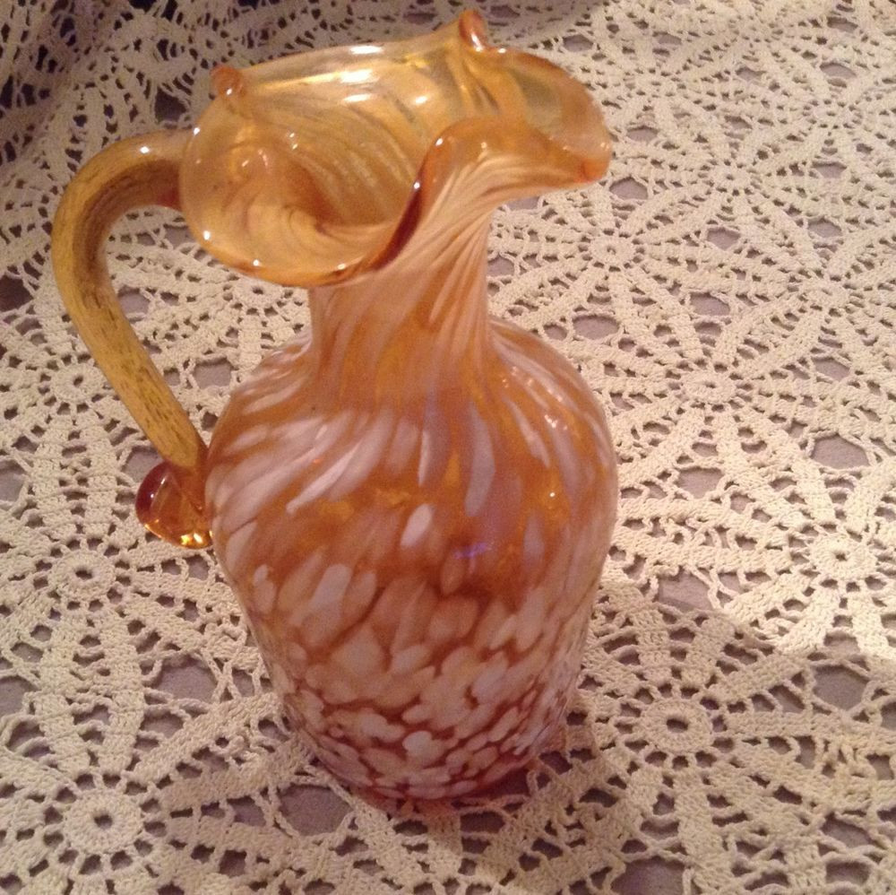fenton amber hobnail vase of art glass amber with end of the day white glass pitcher hand blown in art glass amber with end of the day white glass pitcher hand blown lovely