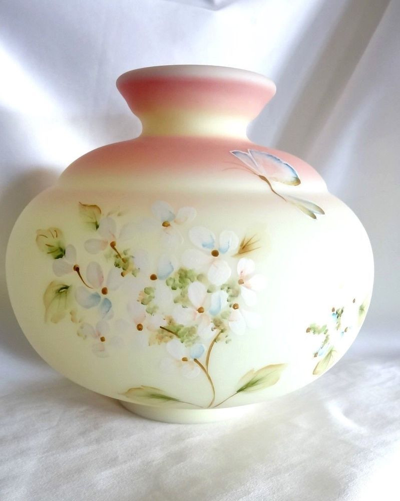 fenton art glass vases of fenton art glass hand painted butterfly hydrangea on pink regarding 146f75959c96ecfb89b3f1b315adf10f
