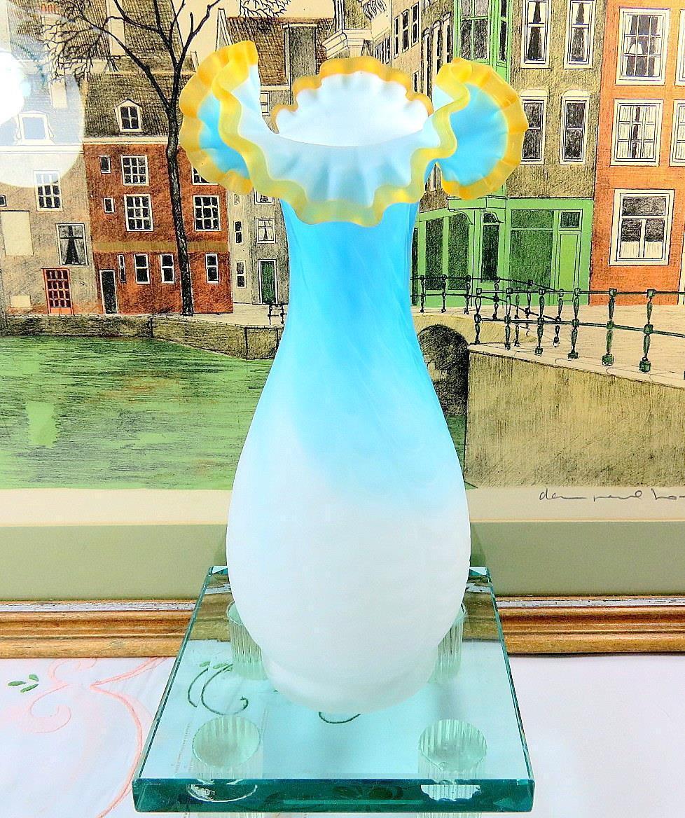 fenton blue glass vase antique of victorian webb mt washington antique satin glass amber crest drape inside victorian webb mt washington antique satin glass