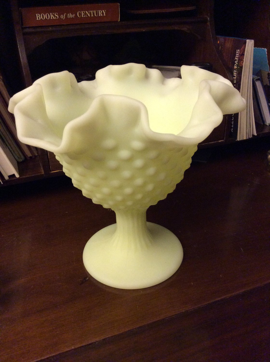 "Fenton Blue Opalescent Hobnail Vase Of Vintage Fenton Art Glass Stunning Large Rough Lime Satin with DŸ""Žzoom"