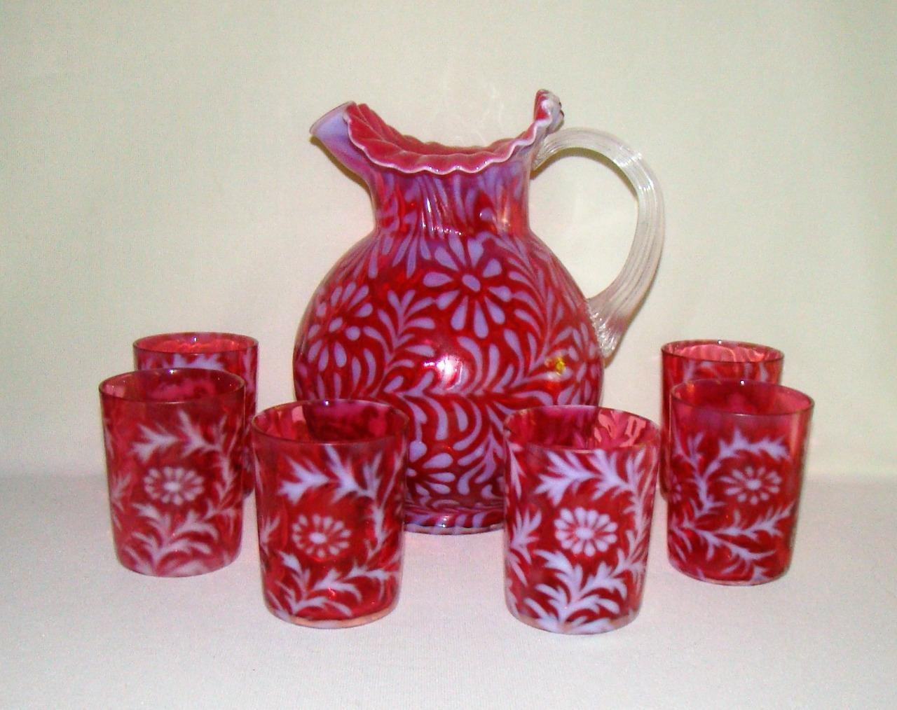 fenton cranberry coin dot vase of antique fenton cranberry glass daisy fern lemonade set pitcher intended for 1 of 9 see more