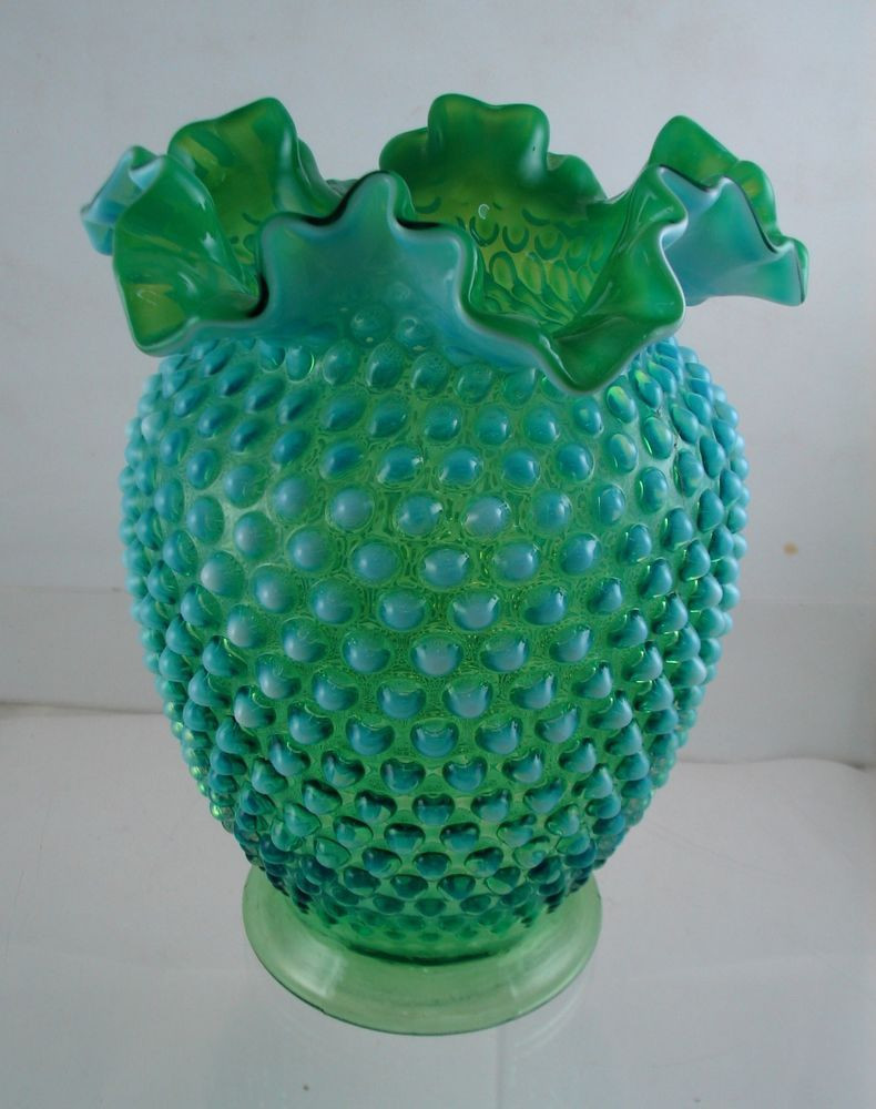 fenton cranberry coin dot vase of fenton lime green hobnail opalescent ruffled vase 8 tall fenton with regard to fenton lime green hobnail opalescent ruffled vase 8 tall