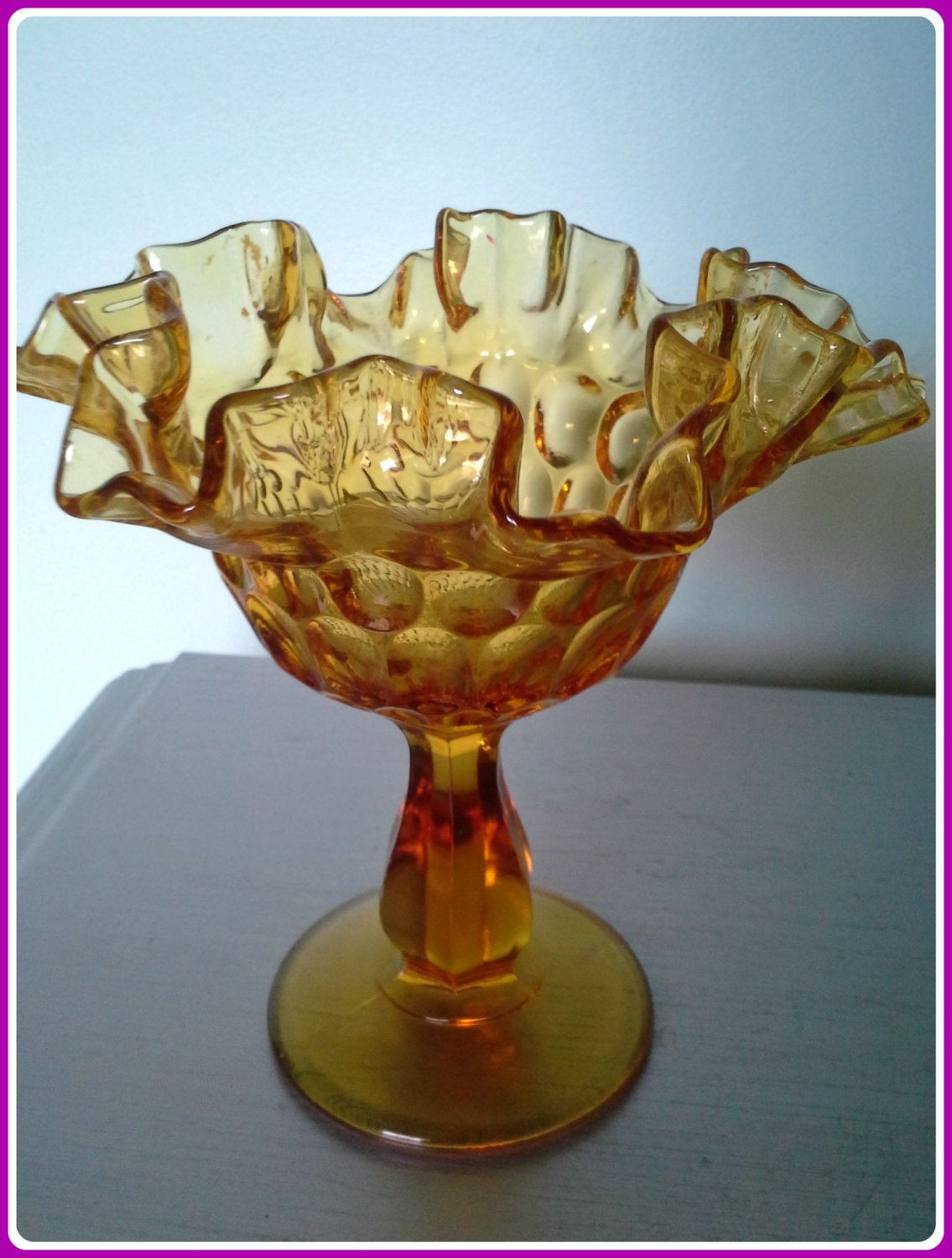 fenton fan vase of vintage compote ruffled amber glass pedestal vintage amber glass regarding vintage compote ruffled amber glass pedestal vintage amber glass footed candy dish by fenton mid century fenton glass compote amber