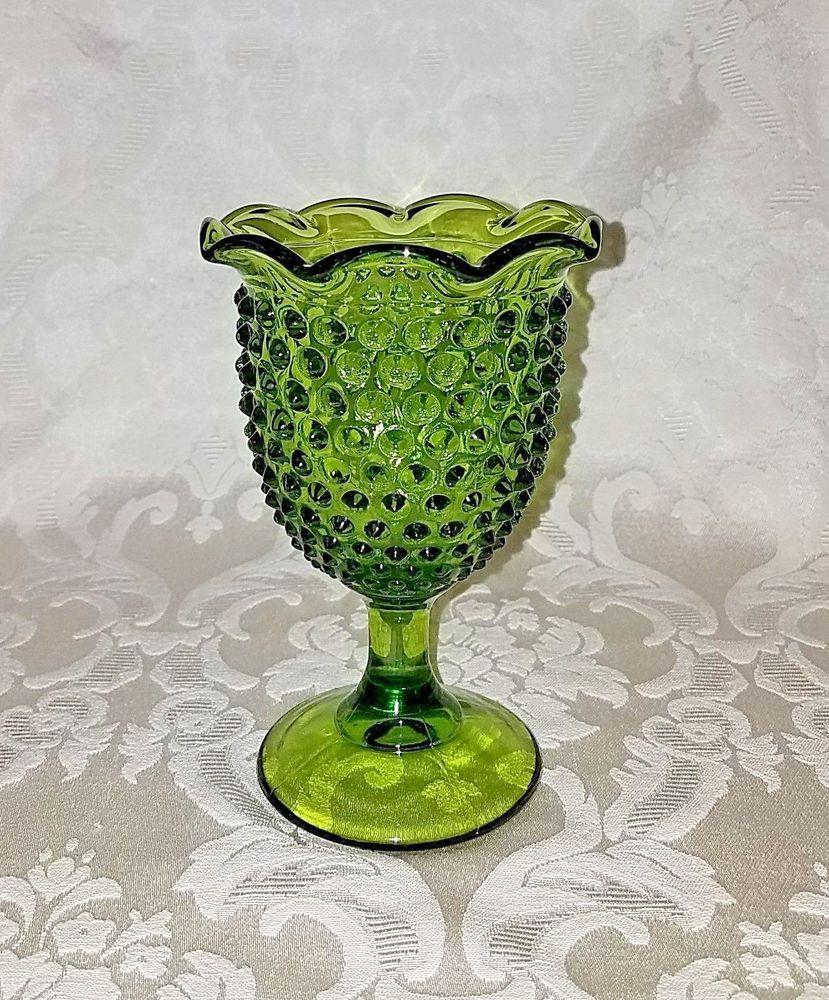 fenton glass vase prices of fenton hobnail green art glass vase w pedestal ruffle edge rare inside fenton hobnail green art glass vase w pedestal ruffle edge rare fenton