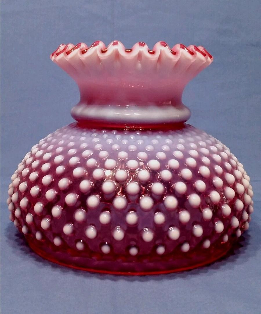 fenton hobnail glass vase of vintage fenton cranberry glass lamp shade hobnail opalescent with next
