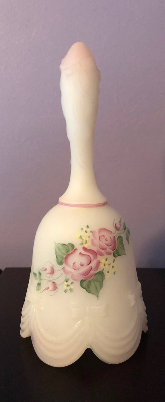fenton white hobnail vase of this fenton bell has such detailed hand painting etsy regarding image 0