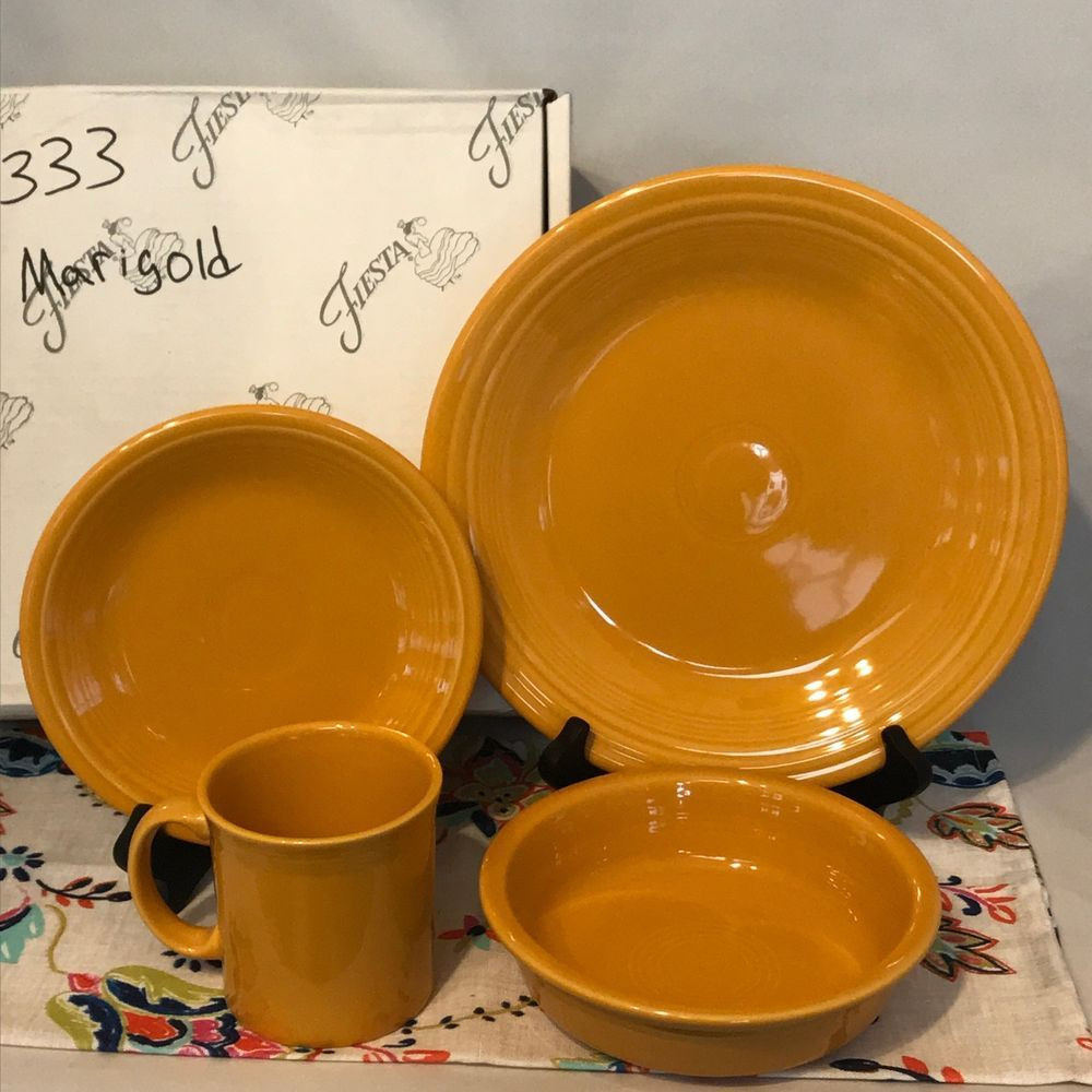 fiestaware flower vase of fiestaware marigold 4 piece place setting fiesta retired dish set inside fiestaa dinnerware marigold 4 piece place setting with java mug made in usa
