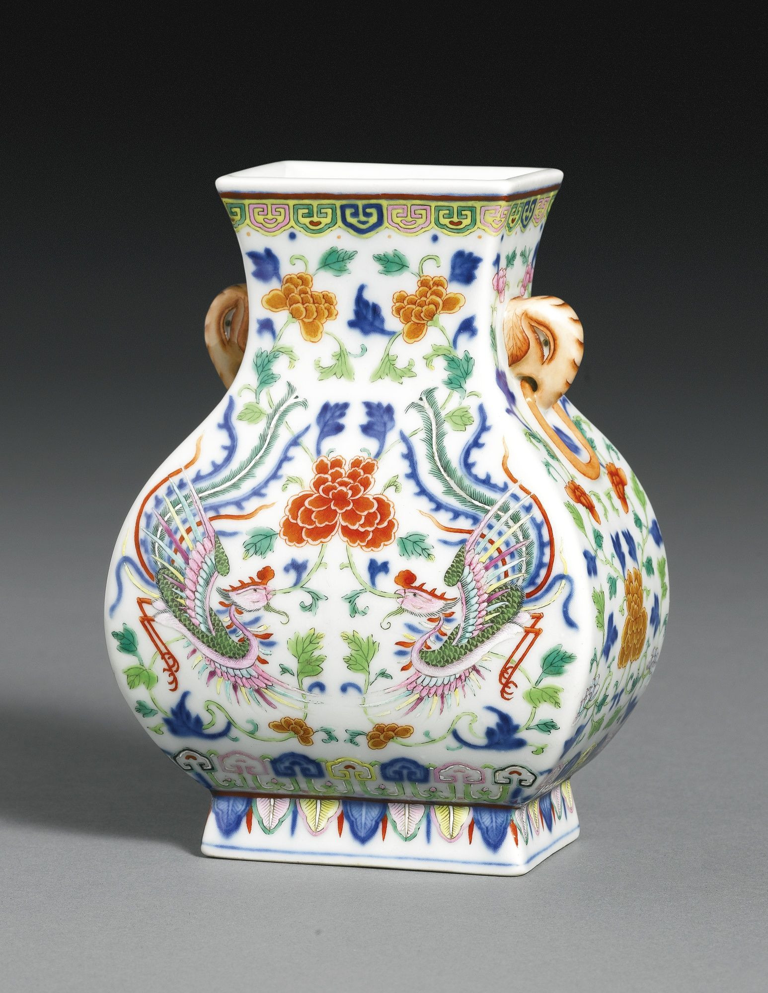 Fine China Vase Of A Fine and Rare Underglaze Blue Polychrome Enamel Phoenix Vase with A Fine and Rare Underglaze Blue Polychrome Enamel Phoenix Vase Fanghu Qianlong