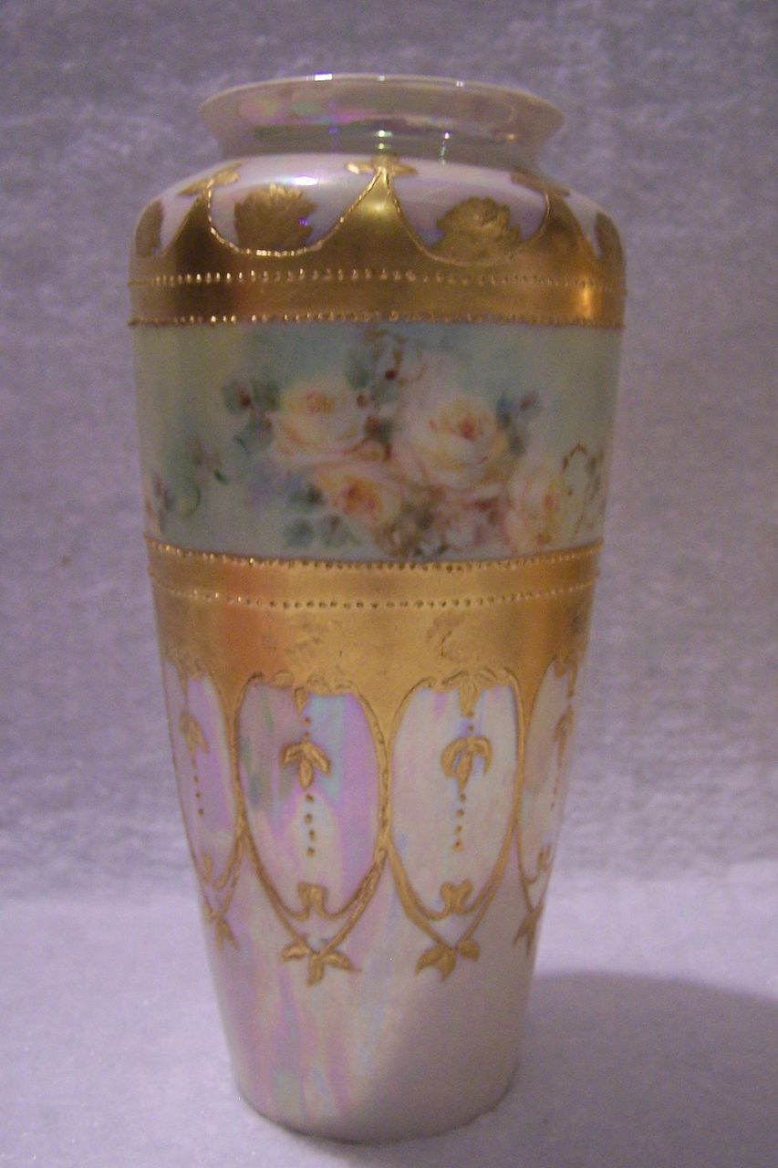 Fine China Vase Of Antique Limoges France Gold Enameled Cameo Vase Hand Painted with Inside Antique Limoges France Gold Enameled Cameo Vase Hand Painted with Delicate Yellow Roses Against A Mother Of Pearl Lusterware Background Charming