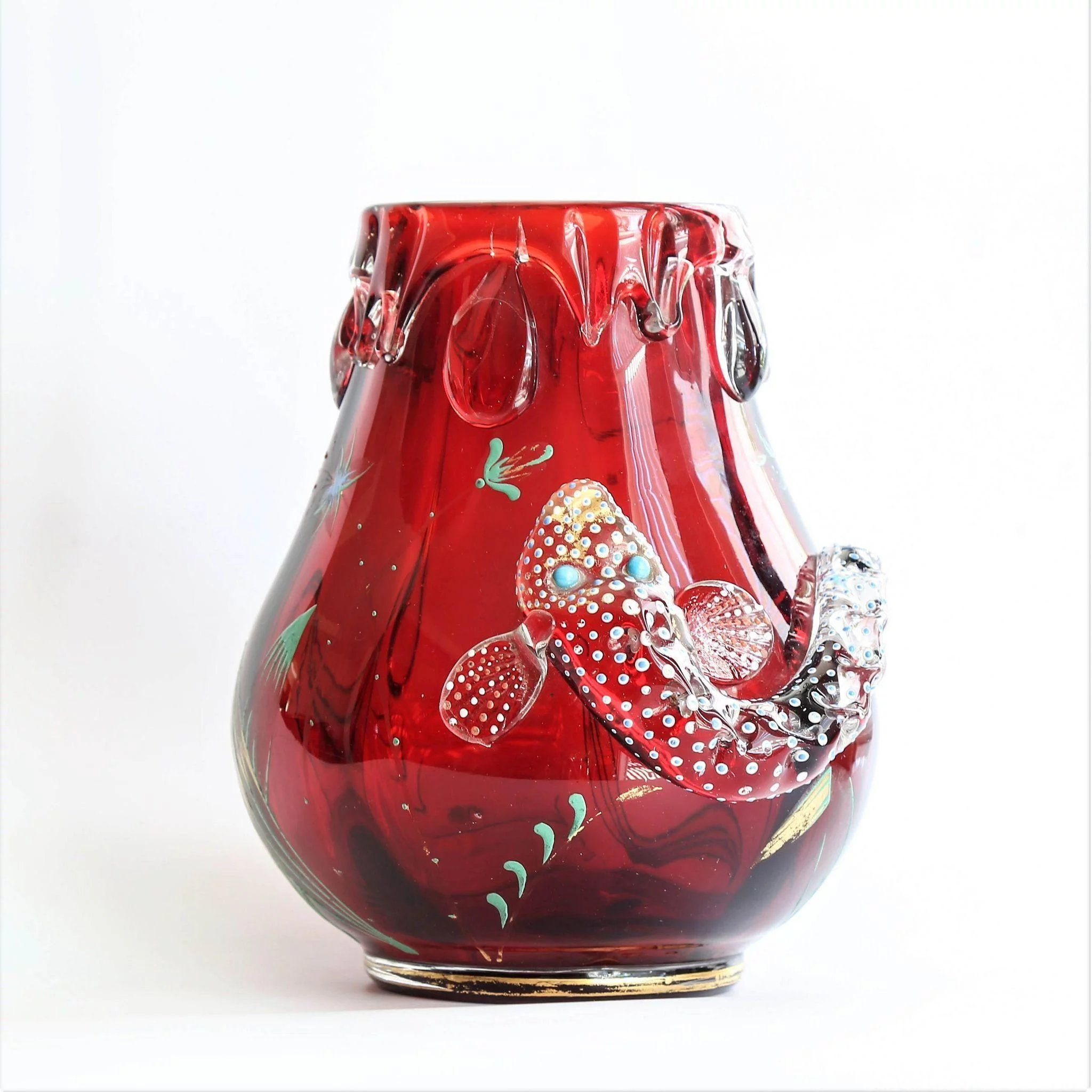 Fish Design Vase Of Rare Circa 1900 Moser Ruby Red Vase with Enameled Fish In 2018 within Title Rare Circa 1900 Moser Ruby Red Vase with Enameled Fish Price 995 Usd Category Antiquesby Period Styleart Nouveauantique Art Glass Antique