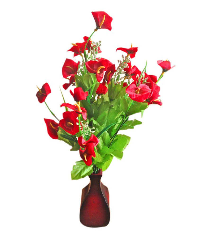 Fish In Plant Vase Of E Plant Red Artificial Flowers with Pot Buy E Plant Red Artificial Inside E Plant Red Artificial Flowers with Pot