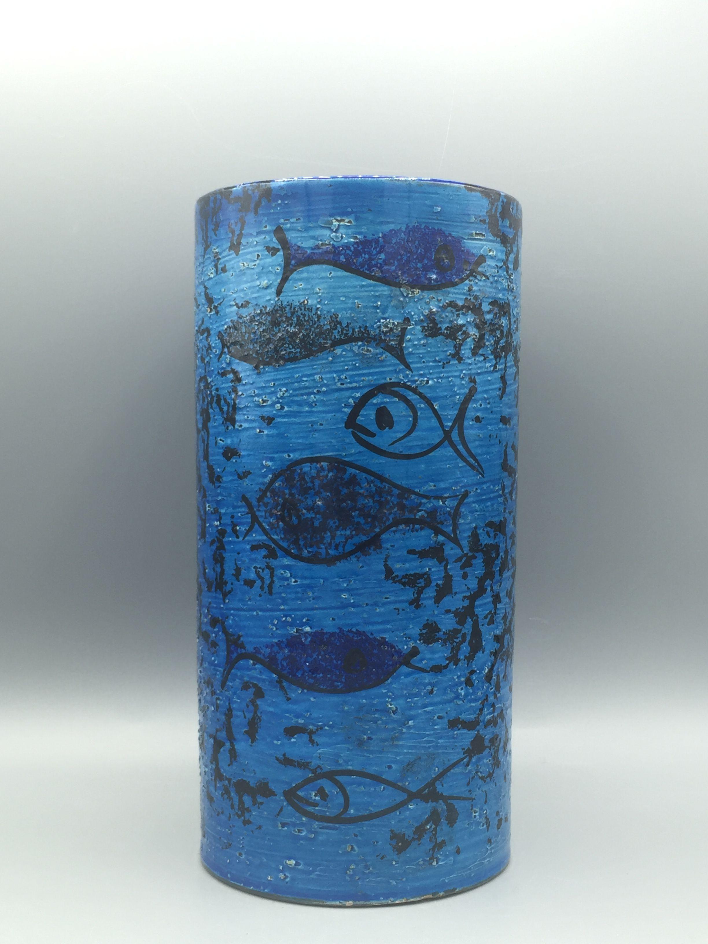 Fish In Vase Of Bitossi Rimini Blue Fish Vase Bitossi Italian Pottery In Pertaining to Bitossi Rimini Blue Fish Vase