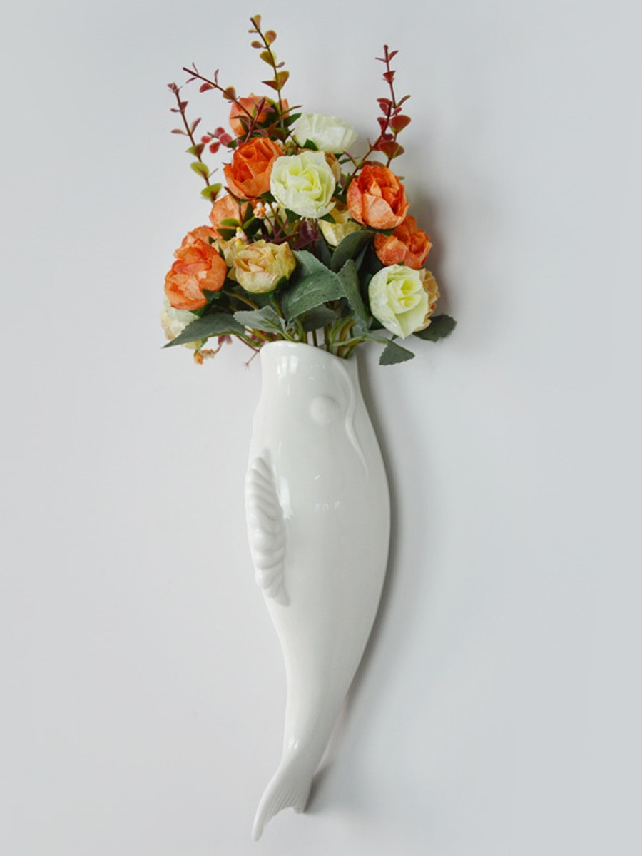fish shaped glass vase of buy 1pc plant mural creative ceramic fish shaped vase and flower within fish shaped vase and flower wall decor share