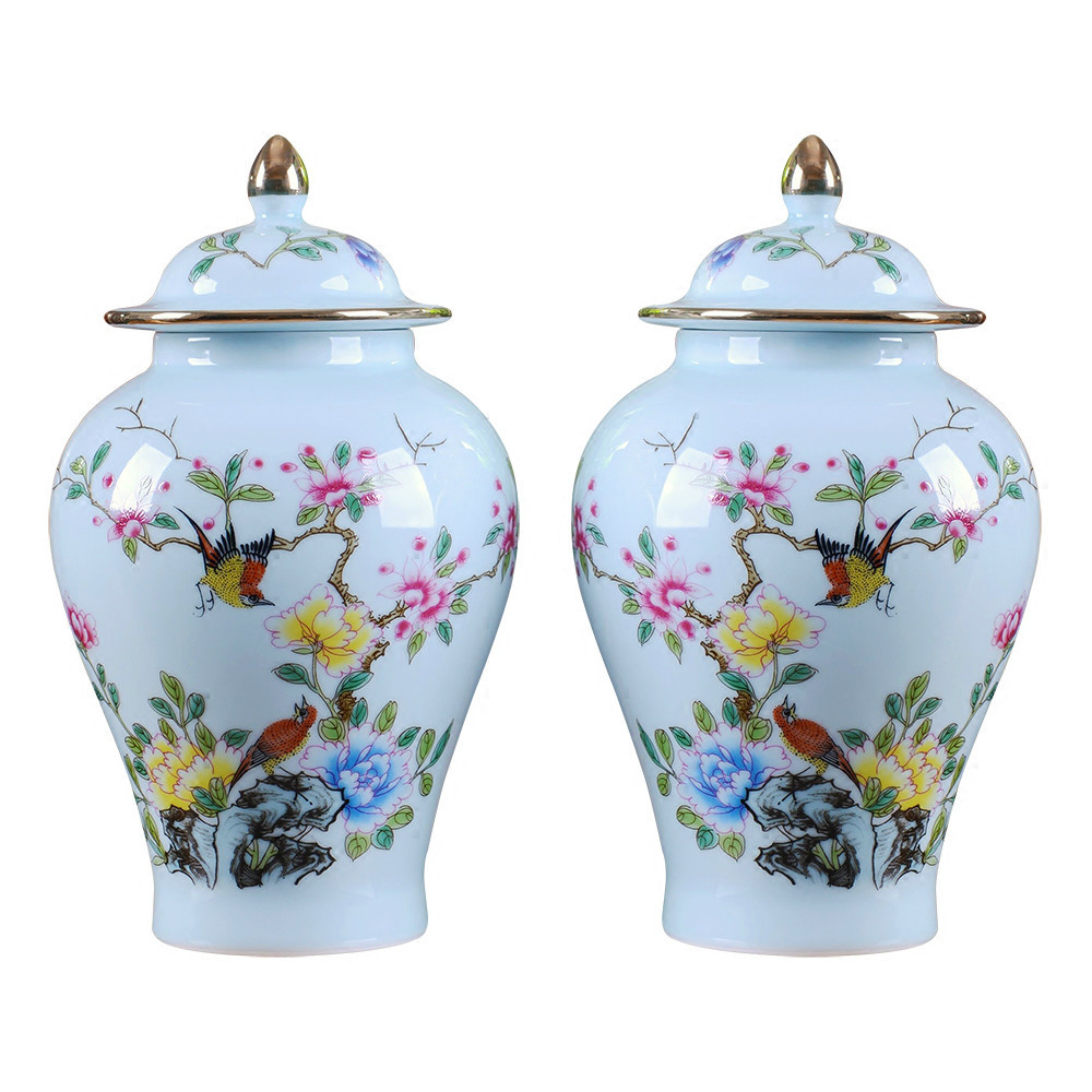 floor vase set of 2 of symmetrical vase antique ceramic vase flowers and birds patterns hat throughout symmetrical vase antique ceramic vase flowers and birds patterns hat covered jar ornament creative gift in vases from home garden on aliexpress com