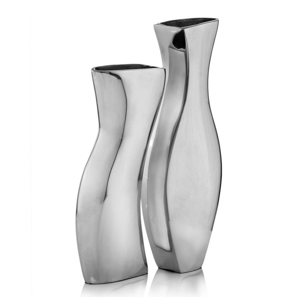 Floor Vase Set Of Silver Metal Modern Vases Set Of 2 Products Pinterest Vase Throughout Silver Metal Modern Vases Set Of 2