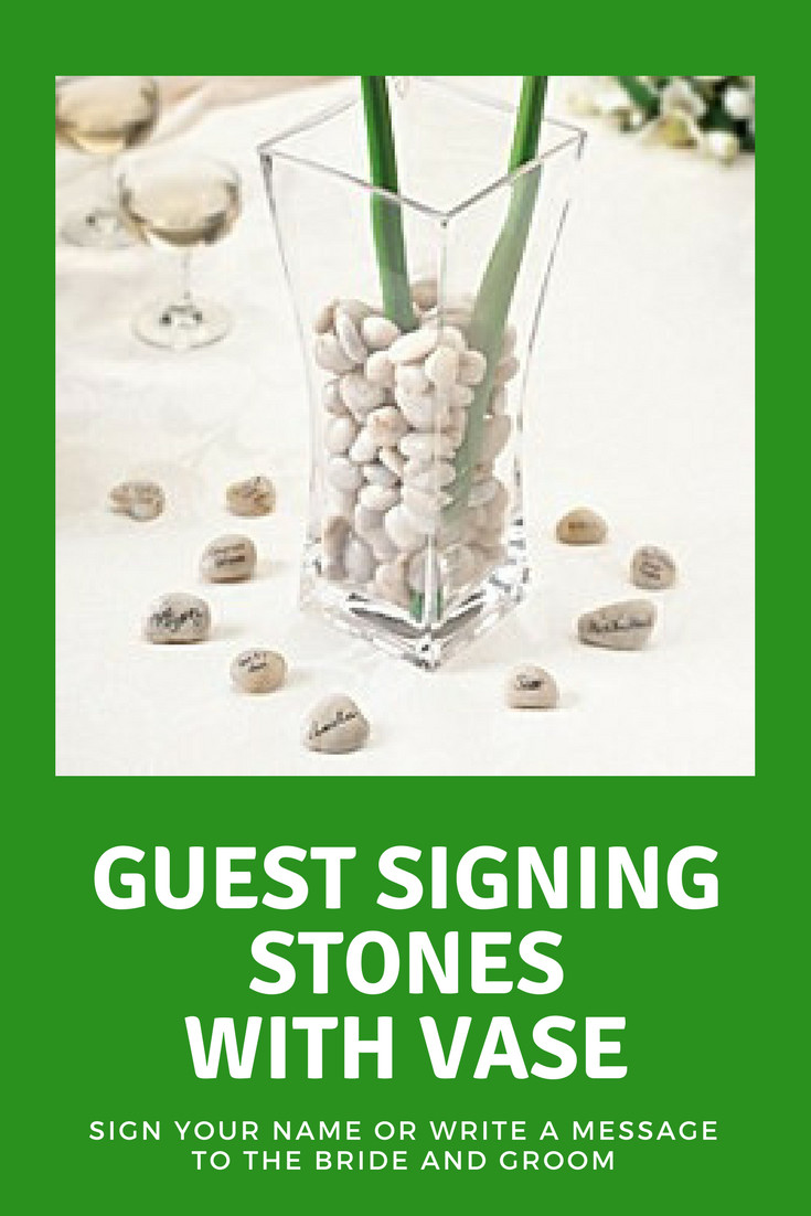 "floral stones for vases of lillian rosea""¢ guest signing stones with vase wedding inside a neat alternative to a guest register guests choose a stone and sign their name"