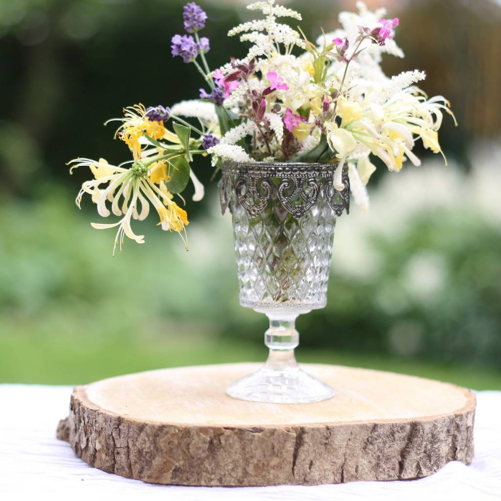 Floral Stones for Vases Of Pressed Glass Footed Vase Candle Holder Metal Rim by the Wedding Of with Regard to Pressed Glass Footed Vase Candle Holder Metal Rim