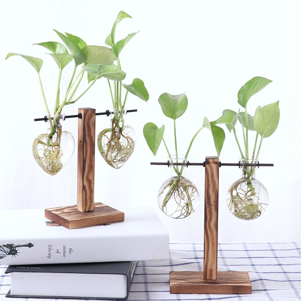 Floral Vases and Containers wholesale Of New Vintage Wooden Stand Glass Hydroponic Flower Vase Terrarium for New Vintage Wooden Stand Glass Hydroponic Flower Vase Terrarium Container Ball for Xmax Gift Diy Home