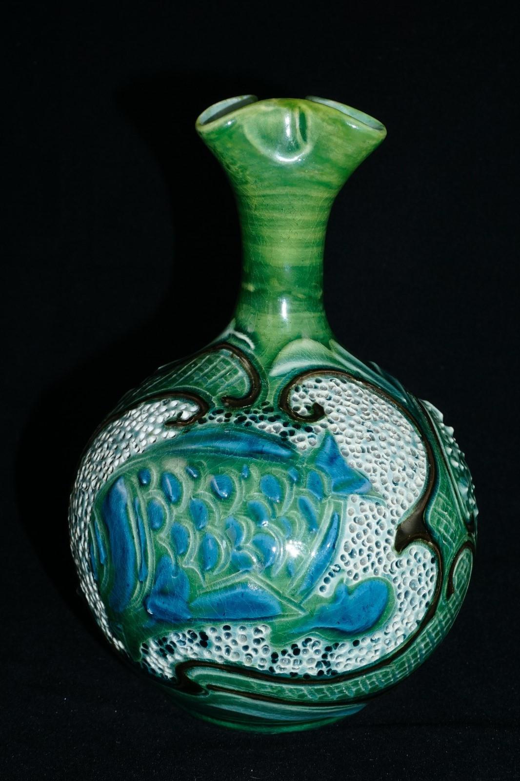 florian ware vase of delightful c h brannam barum ware fish vase by frederick baron of pertaining to delightful c h brannam barum ware fish vase by frederick baron of barnstaple 1898
