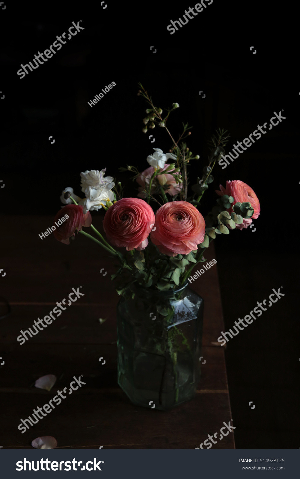 flower arrangements in cylinder vases of flower bouquet glass vase on vintage stock photo edit now regarding flower bouquet in a glass vase on vintage table with black moody background
