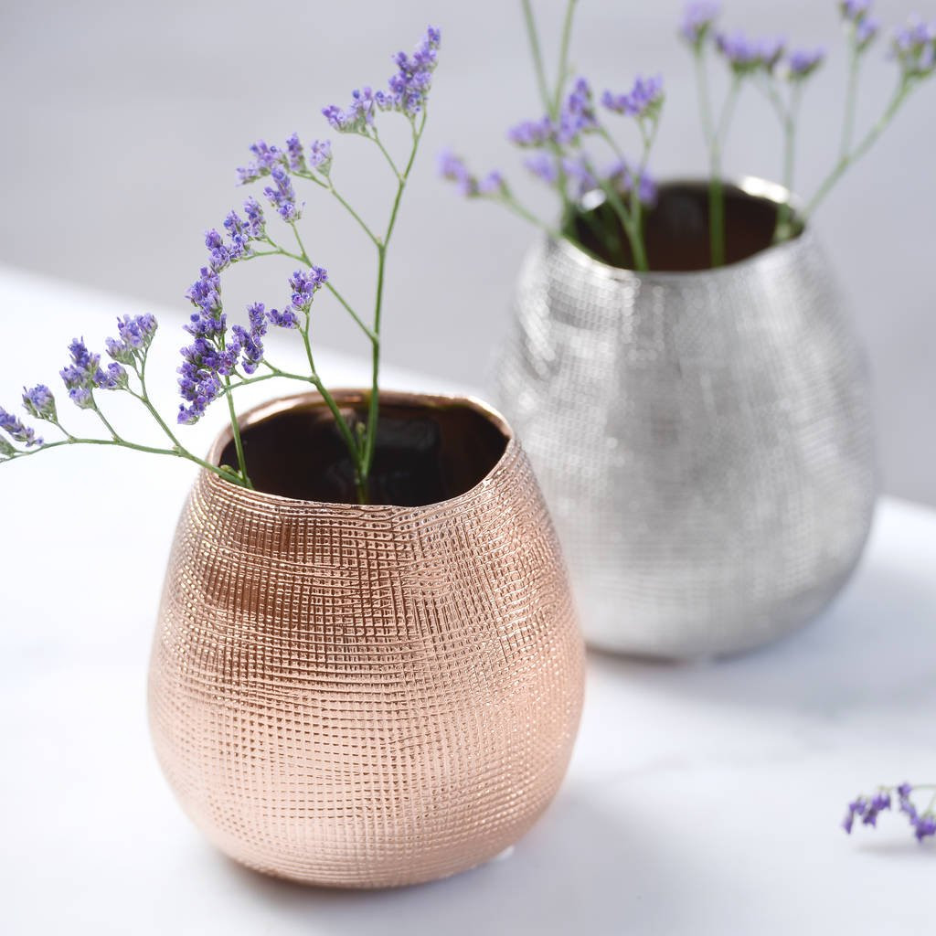 flower frog vase of metallic rose gold or silver metal vase by the best room with regard to metallic rose gold or silver metal vase