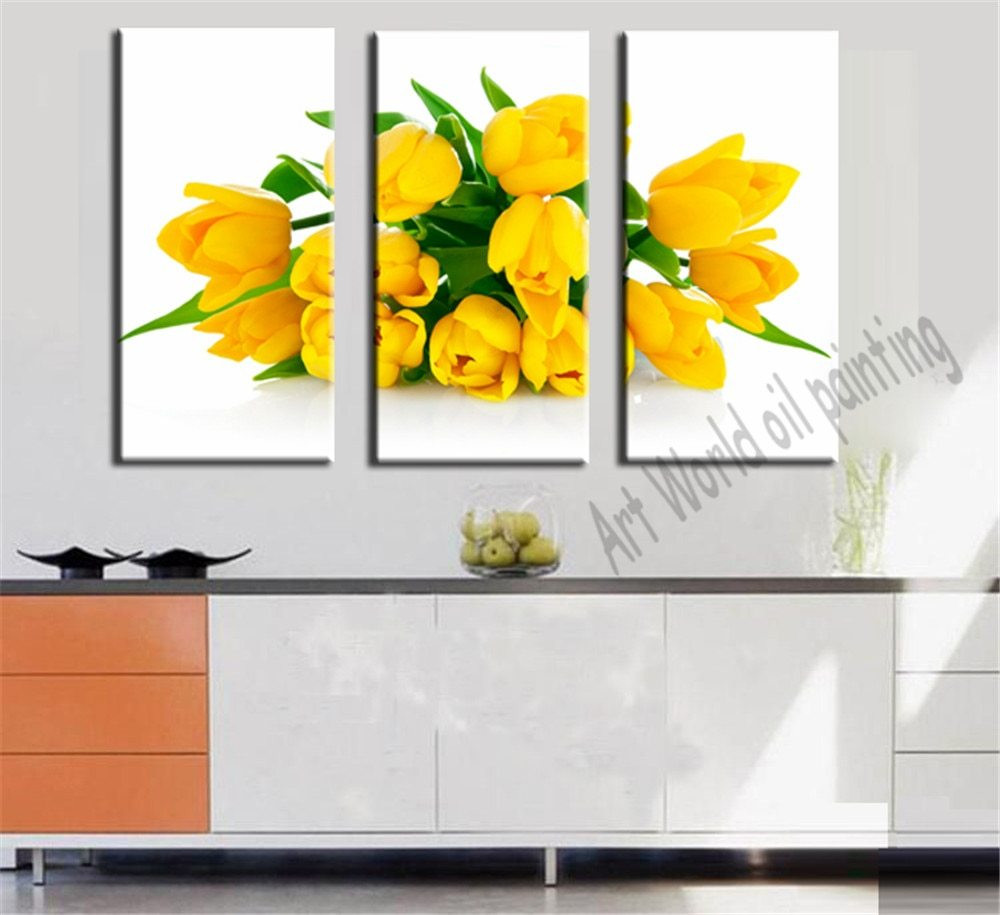 Flower Vase Canvas Painting Of AŠ3 Panel Noble Golden Yellow Tulips Painting Canvas Wall Picture Regarding 3 Panel Noble Golden Yellow Tulips Painting Canvas Wall Picture Flower Art Canvas Prints for Living Room Modern Decor Unframed