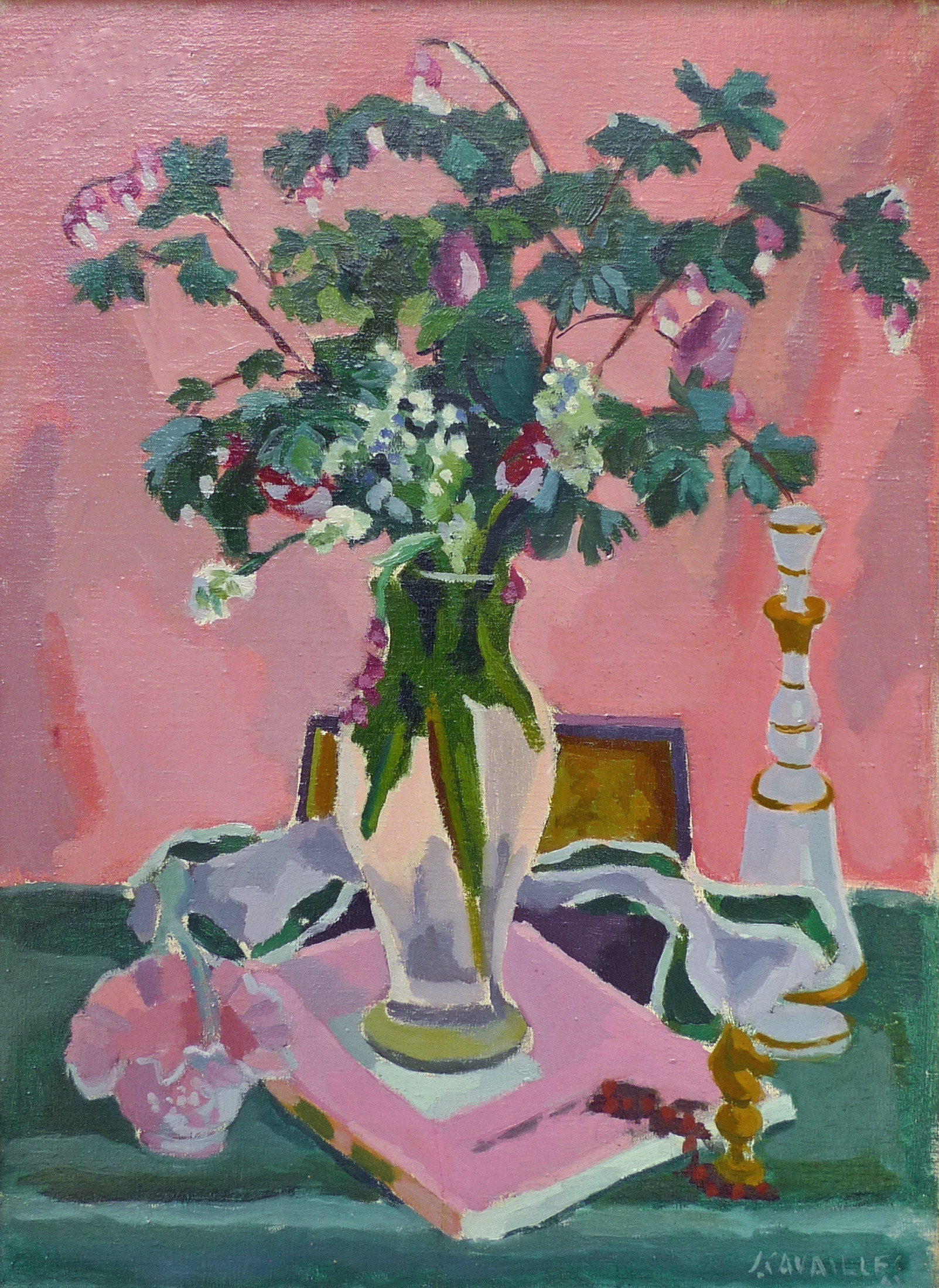 flower vase canvas painting of jules cavailles still life of a glass vase with a decanter and a regarding further images