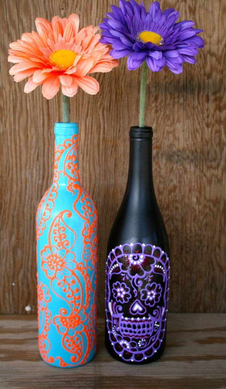 flower vase design plastic bottle of hand painted wine bottle vase up cycled turquoise and coral orange for hand painted wine bottle vase up cycled turquoise and coral orange vibrant henna style design 25 00 via etsy