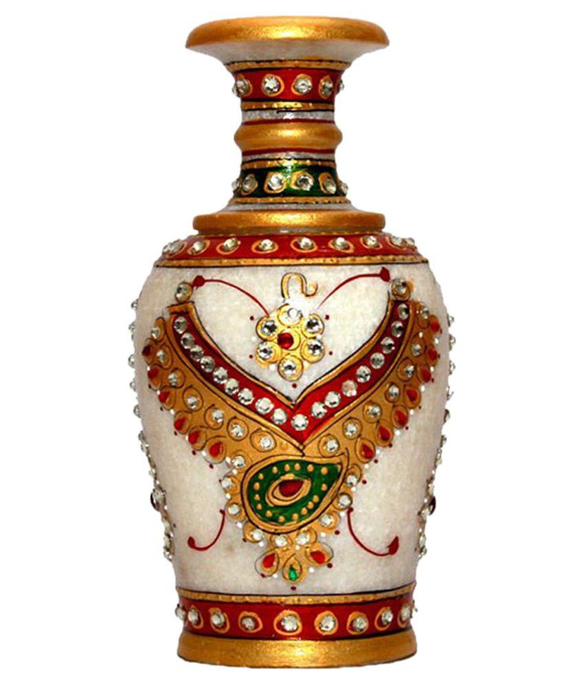 flower vase gel of pooja creation white marble painted flower vase home decorative item with pooja creation white marble painted flower vase home decorative item set of 1