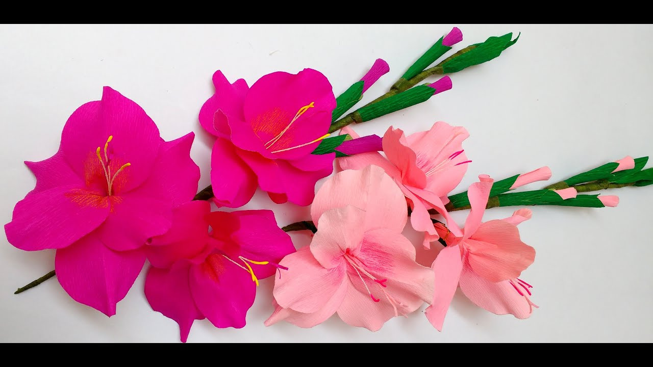 flower vase made of paper of how to make paper flowers gladioli glads gladiolus flower 27 pertaining to how to make paper flowers gladioli glads gladiolus flower 27 youtube