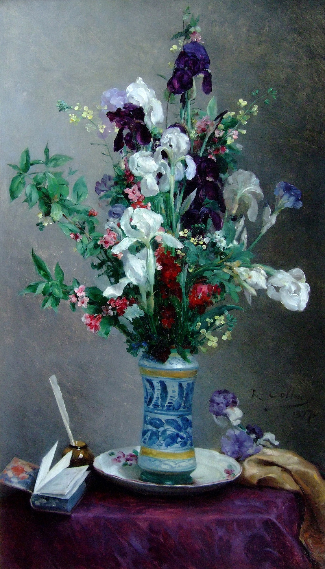 flower vase painting of louis joseph raphael collin mixed flowers in a blue vase julian pertaining to mixed flowers in a blue vase